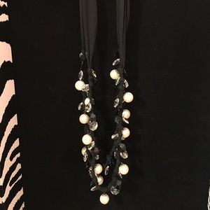 Pearl and black ribbon necklace