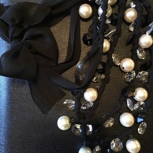 Jewelry - Pearl and black ribbon necklace