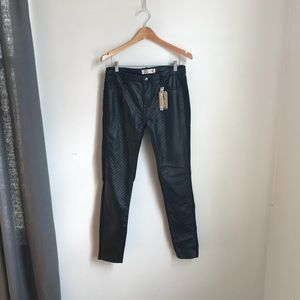 Pants - NWT! Faux leather quilted jeans