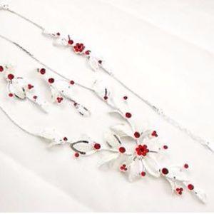 NWOT Red Rhinestone Jewelry with Bracelet