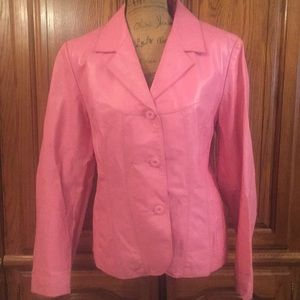 Wilson's Maxima Cotton Candy Pink Leather Jacket