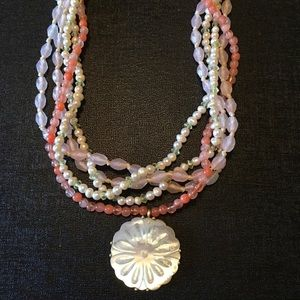 Coral and pearl beaded necklace