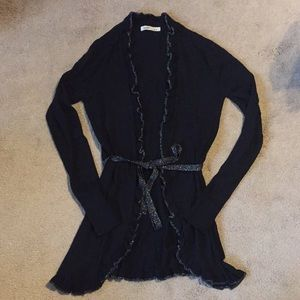 Ruffle Tie front Black and Silver Cardigan- Size S