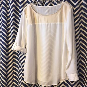 Sheer cream colored longsleeve adjustable blouse