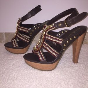 BCBGeneration Barcelona Leather Beaded Heels 7.5