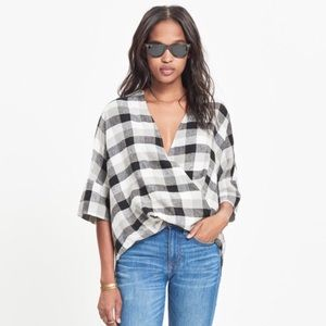 Madewell Courier Drape Front Blouse in Plaid