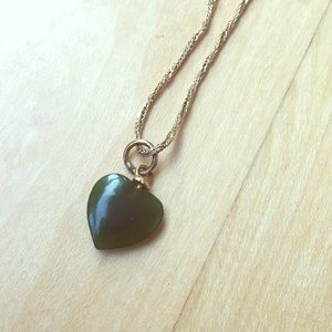 Jade and gold heart necklace
