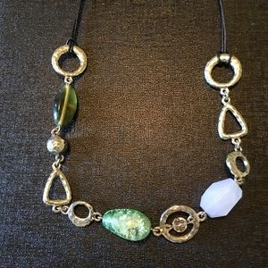 Multi-colored green and blue stone necklace
