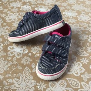 Sperry Blue with white polka dot girls sneakers