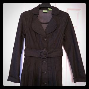 NEW Black Denim Trench with pleated bottom
