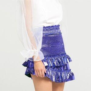Dresses & Skirts - Blue Metallic ruffle skirt