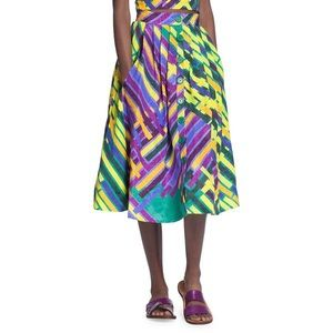 Tracy Reese button front colorful midi skirt NWT