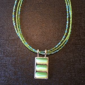 Lime green rectangle pendant necklace
