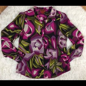 Mission for Target floral button down blouse Small