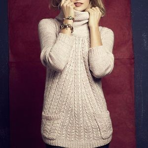 Anthropologie Guinevere Pink Cabled Cowl Sweater
