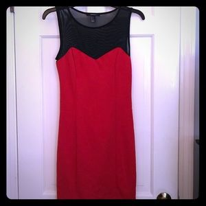 Red and Black Sweetheart Neck Dress
