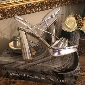 Jeffery Campbell Glam Silver Chante Heels NIB