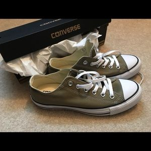Brand new never worn olive green converse