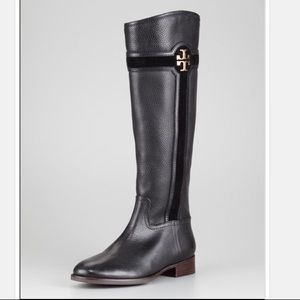 TORYBURCH ALAINA BlackPebbled Leather Riding Boot