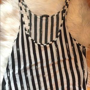 Balmain cotton black & white striped tank, sz 44