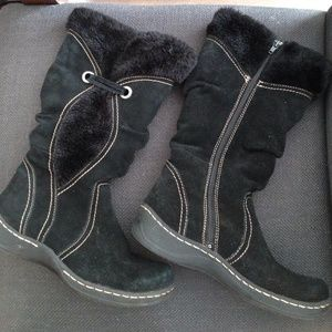 Bass Black Suede Tall Zip-up Boots
