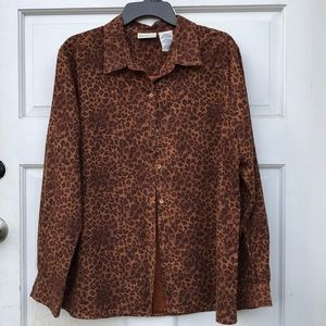 White Stag Suede Leopard Lined Button Up Blouse L