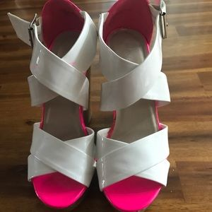 White and hot Pink wedges