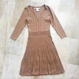 Max Studio Ribbed Sweater Dress in Camel