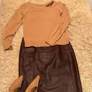 New H&M 100% Deep Wine Color Leather Skirt