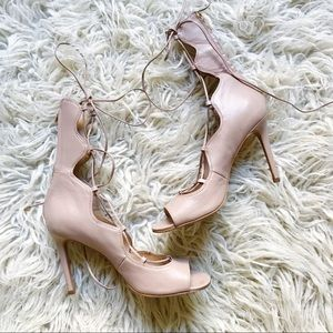 Vince camuto nude lace up heel