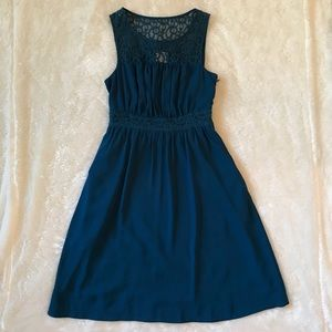 Anthro HD In Paris Blue Lace Dress w Pockets