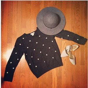 L.O.G.G. H&M charcoal, polka dot, sweater.