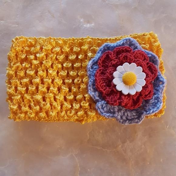 Stretchy Babychilds Headband Crochet Flowers