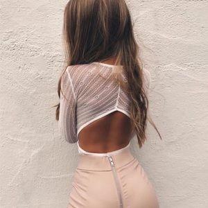 f62ec36673 Tops - 🆕  Kristina  White Lace Long Sleeve Bodysuit