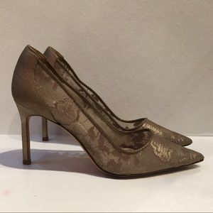 Authentic Manolo Blahnik metallic taupe lace heels