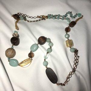 Beaded asymmetrical long necklace