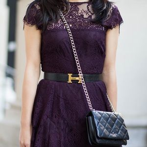 BB Dakota Plum Lace Dress, Size 6