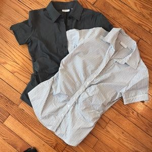 Short sleeve fitted button down women's shirts