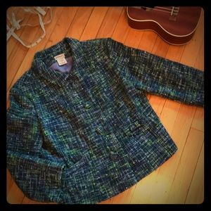 Anthropologie Elevenses Marled Tweed Wool Jacket