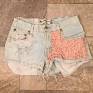 Levi's Boho Gypsy Distressed PatchWork Jean Shorts