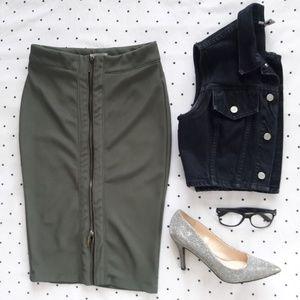 Pencil Skirt w/ Gold Accent Zipper