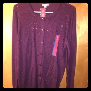 Merona Burgundy Sparkly Sweater NWT!