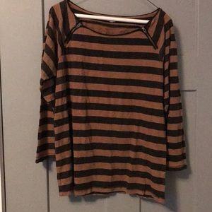 J.Crew Black & Tan striped 100% cotton shirt