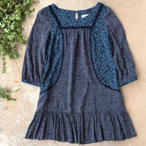 Anthropologie Blue Paisley Floral Paix Tunic Dress