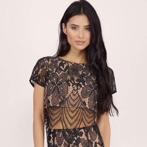 NWT Gorgeous Black Lace Nude Underlay Express Crop