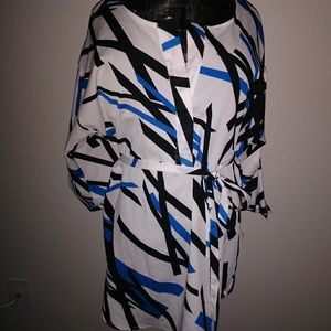 NYC Blue, Black, White Blouse