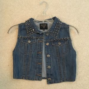Love culture studded cropped jean vest