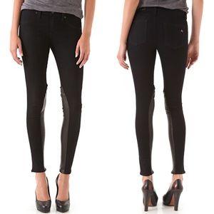 Rag & Bone Jodhpur Leather Panel Black Jeans 26