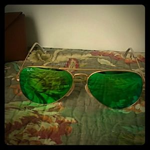 Ray-Ban Aviator Flash Lenses gold with green 58 mm
