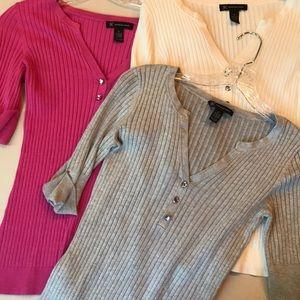 INC Short Sleeve V-Neck Soft Sweater